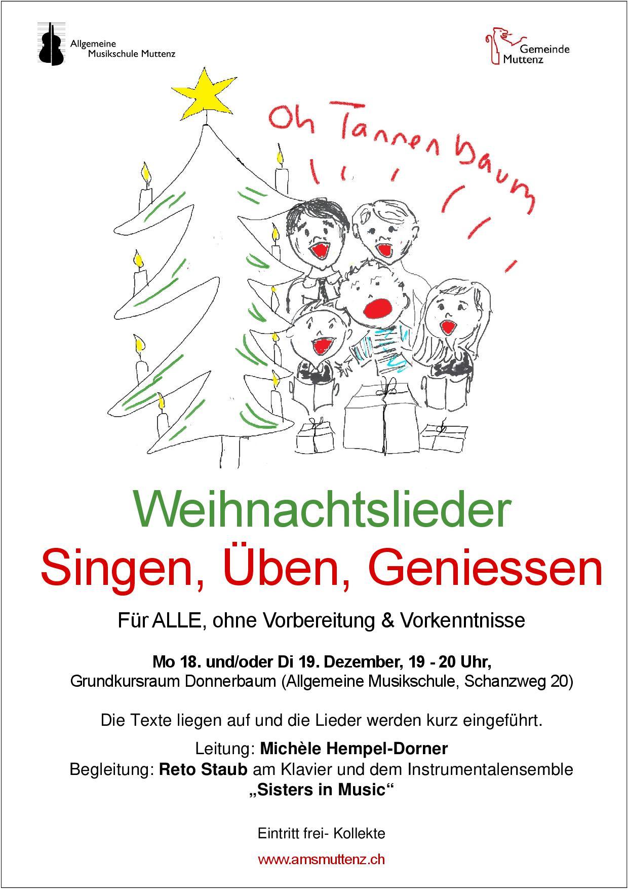 Weihnachtslieder Kurz.Allgemeine Musikschule Muttenz Weihnachtslieder Singen üben